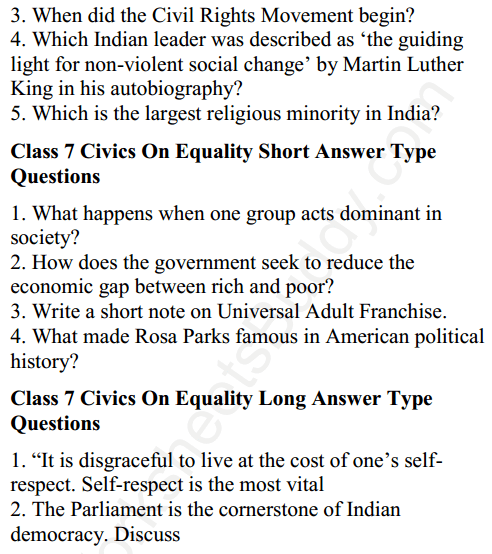 CBSE Class 7 Social Science Civics On Equality Worksheets 3