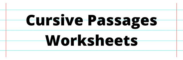 Cursive Passages Worksheets