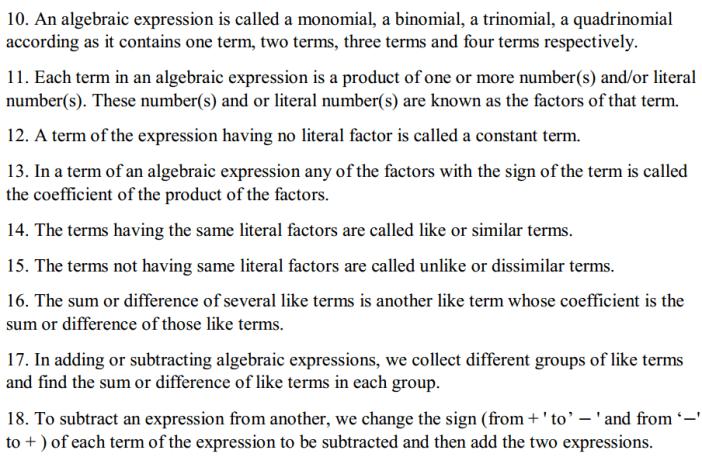 Algebraic Expressions Formulas for Class 7 Q2