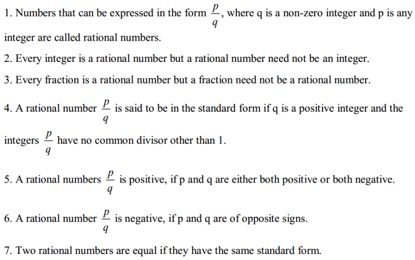 Rational Numbers Formulas for Class 7 Q1