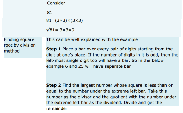 Squares and Square Roots Formulas for Class 8 Q5