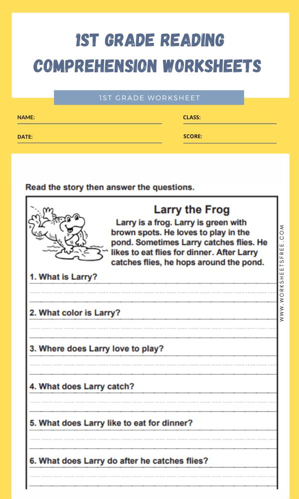 1st grade reading comprehension worksheets 6