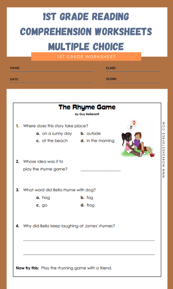 1st grade reading comprehension worksheets multiple choice 2
