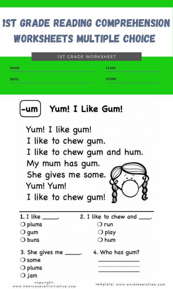 1st grade reading comprehension worksheets multiple choice 3