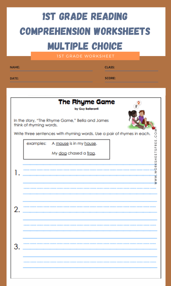 1st grade reading comprehension worksheets multiple choice 4