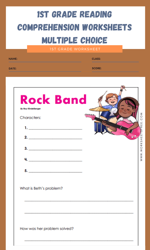 1st grade reading comprehension worksheets multiple choice 7