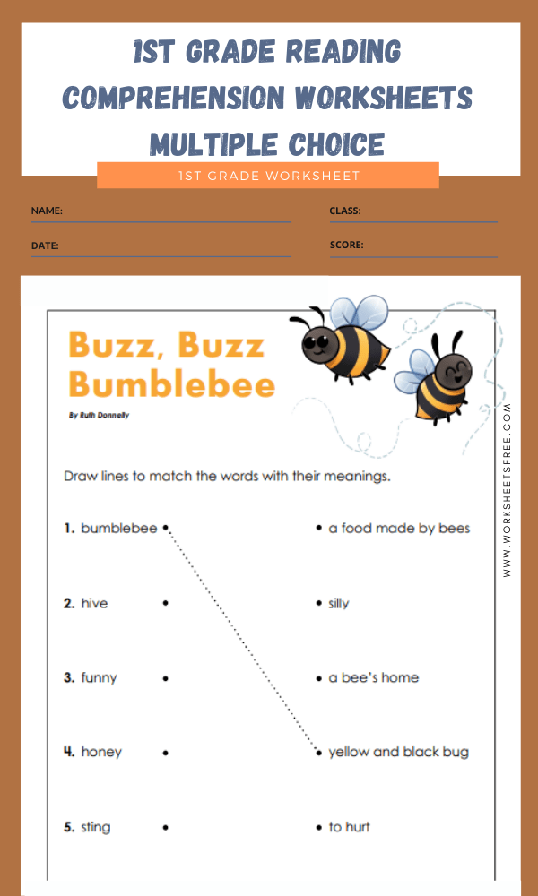 1st grade reading comprehension worksheets multiple choice 9
