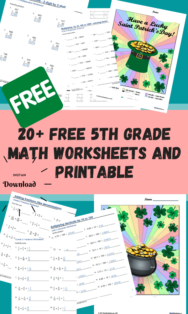 20+ Free 5th Grade Math Worksheets And Printable : Grade 5 Worksheets Free