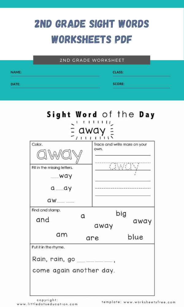 2nd grade sight words worksheets pdf 6