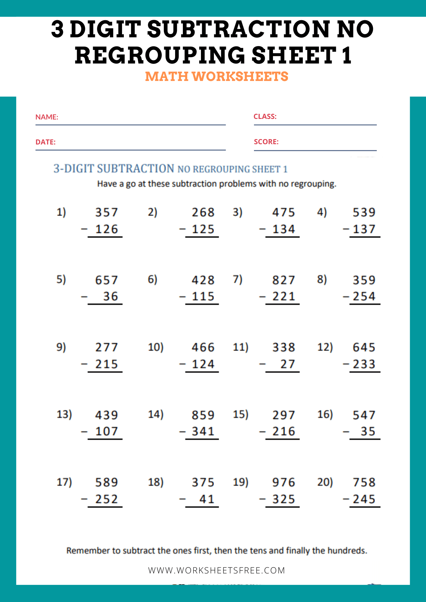 3 Digit Subtraction No Regrouping Sheet 1