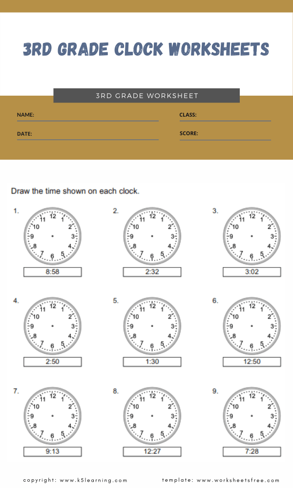 3rd grade clock worksheets 4