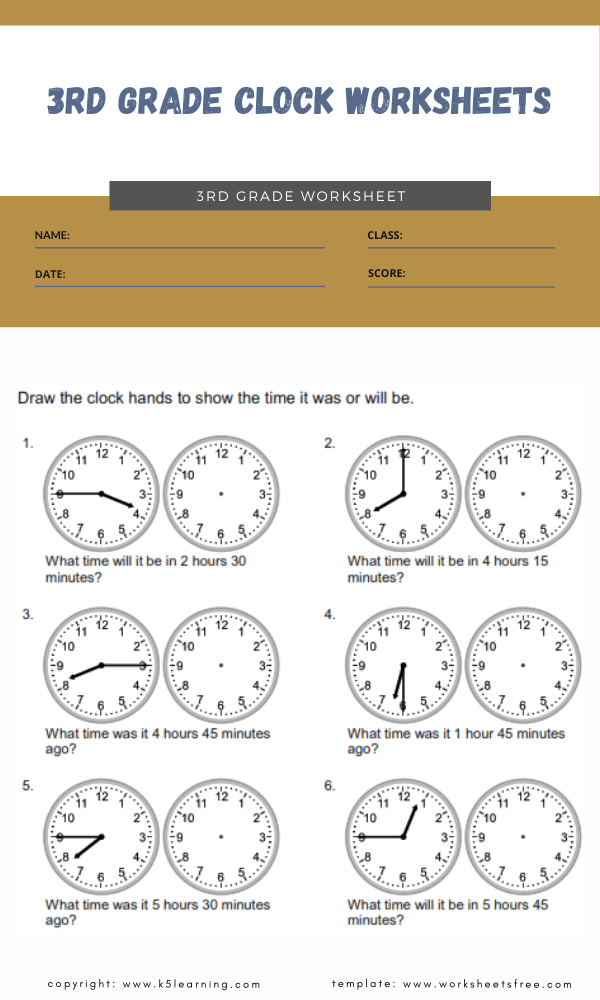 3rd grade clock worksheets 5