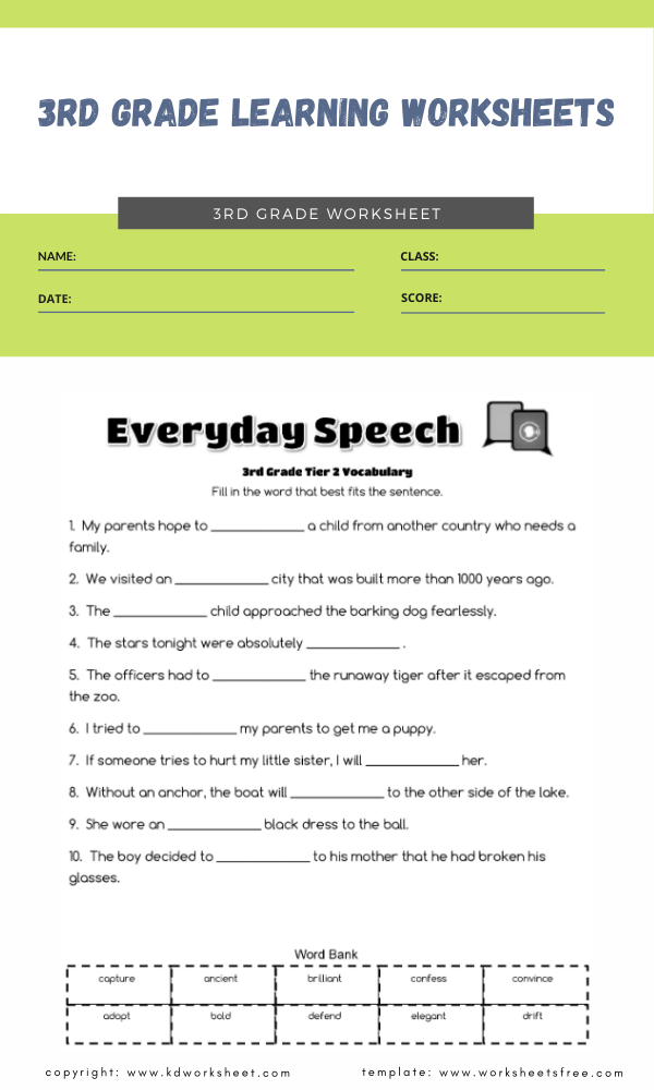 3rd grade learning worksheets 2