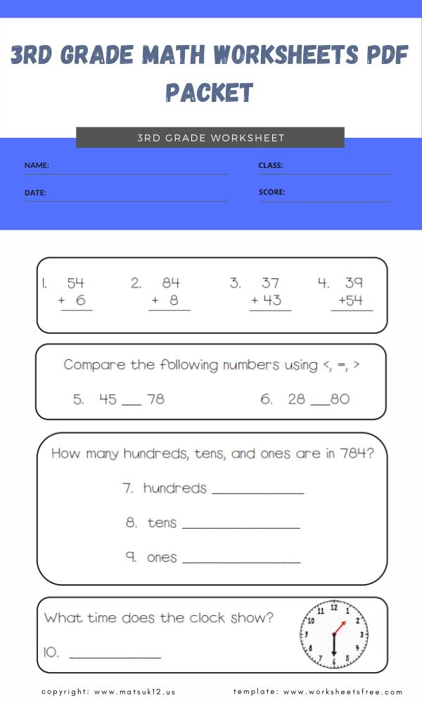 3rd grade math worksheets pdf packet 2