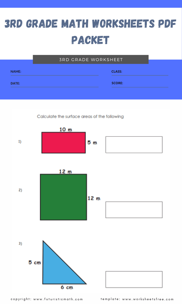 3rd grade math worksheets pdf packet 4