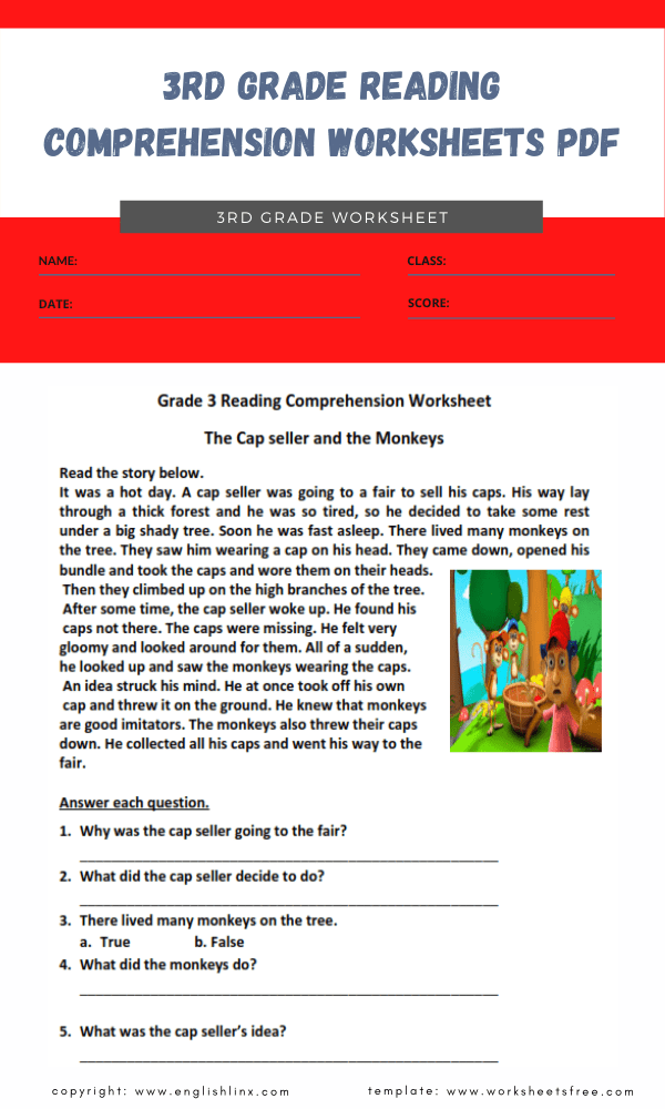 3rd grade reading comprehension worksheets pdf 3