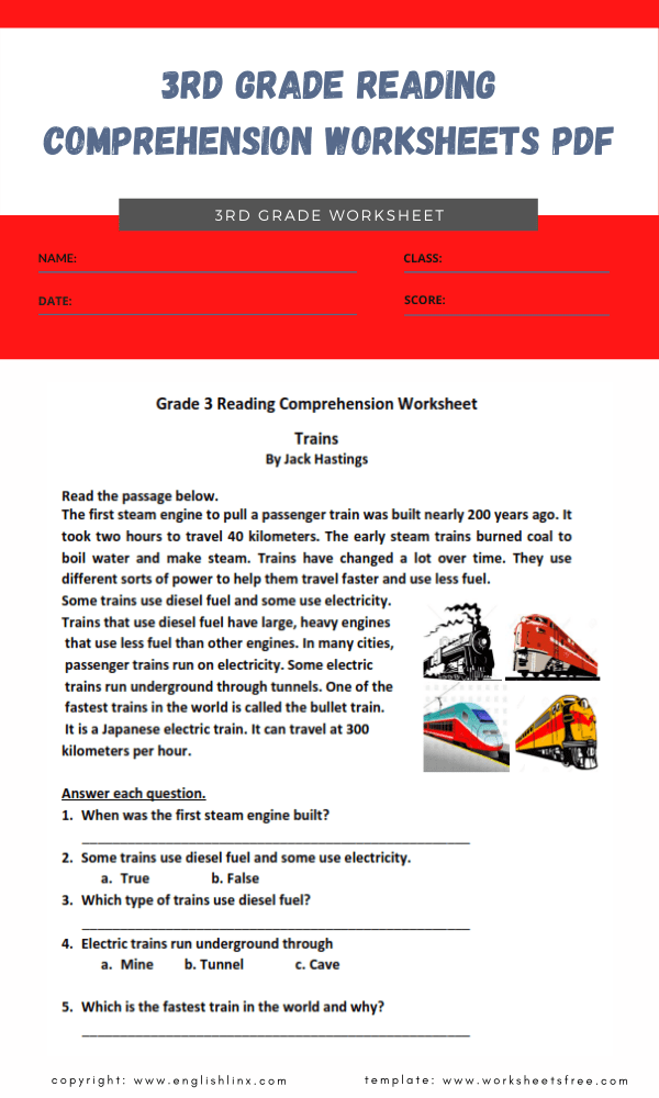 3rd grade reading comprehension worksheets pdf 4