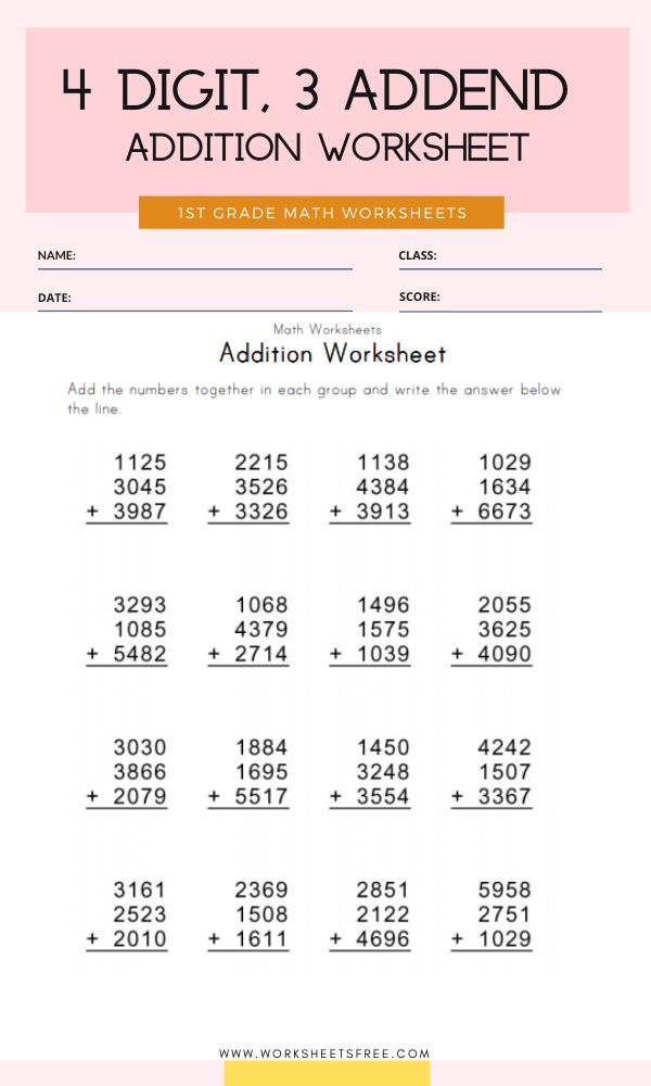 4 Digit, 3 Addend Addition Worksheet Grade 1