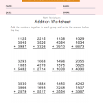 4 Digit, 3 Addend Addition Worksheet Grade 1