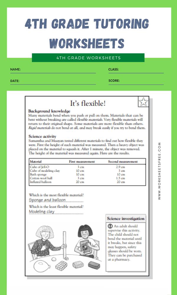 4th Grade Tutoring Worksheets 2