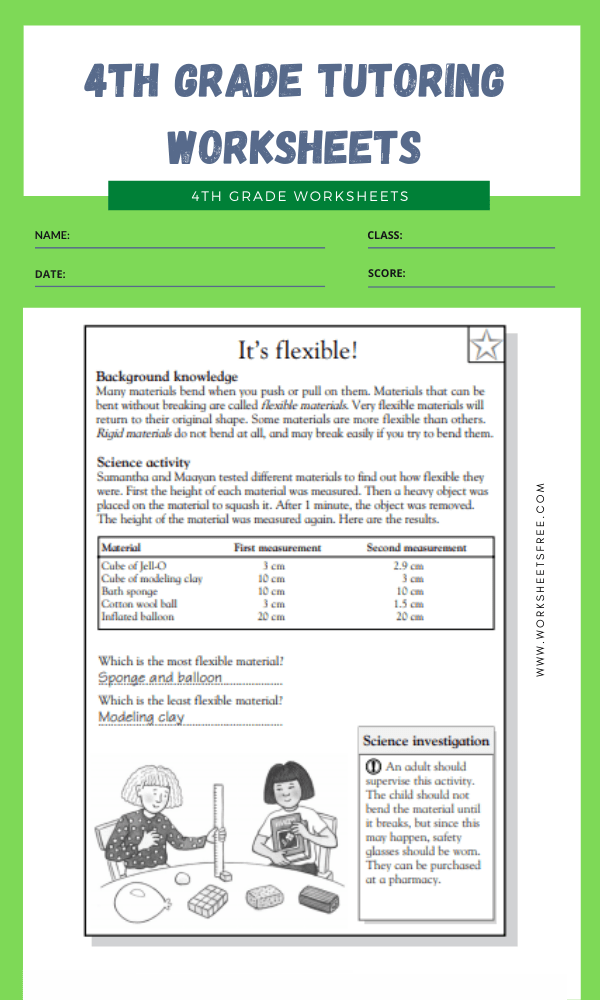 4th Grade Tutoring Worksheets 2