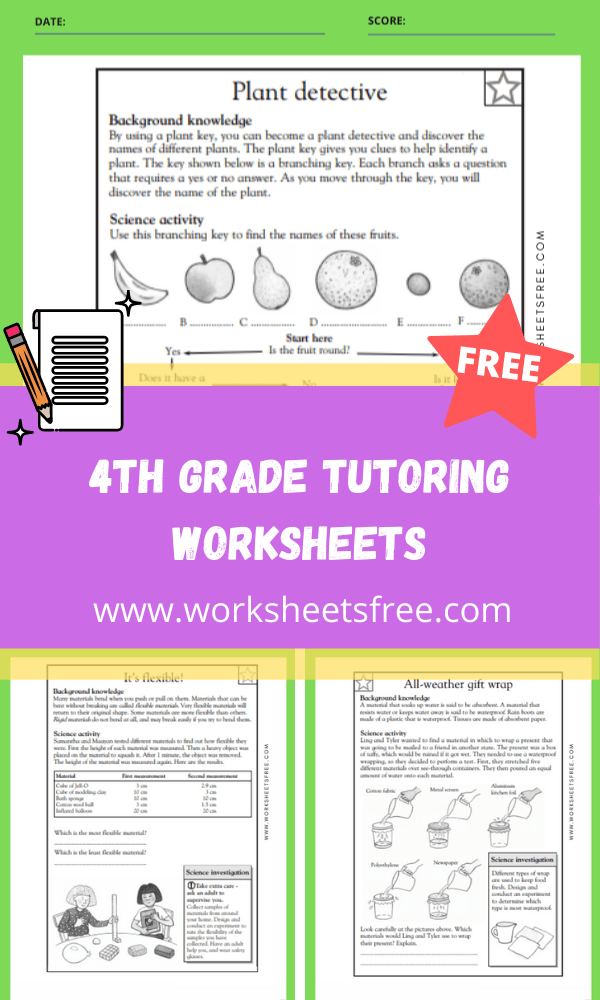 4th Grade Tutoring Worksheets