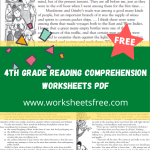 4th grade reading comprehension worksheets pdf
