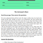 4th grade reading comprehension worksheets with question 1
