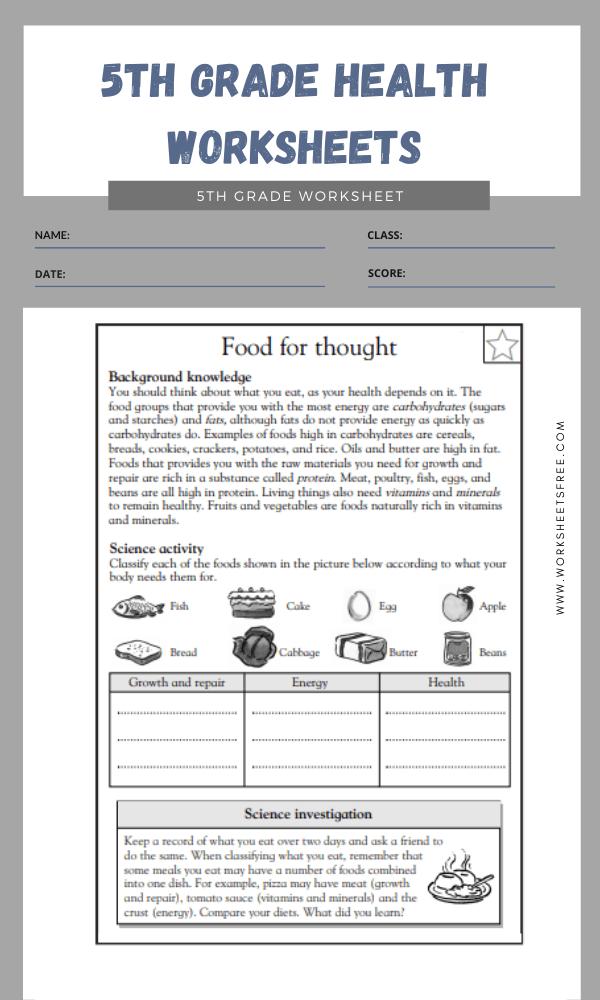 5th Grade Health Worksheets 1