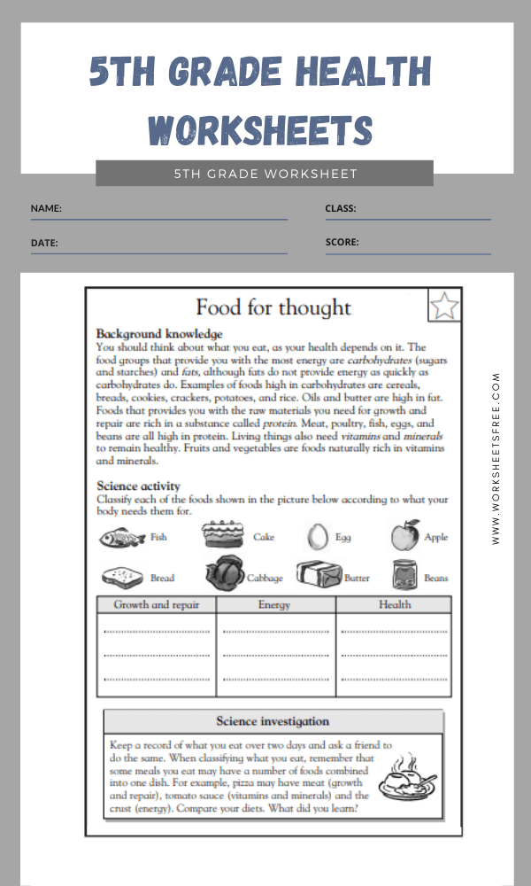 5th Grade Health Worksheets 1