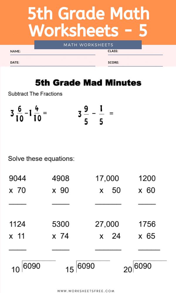 5th Grade Math Worksheets - 5