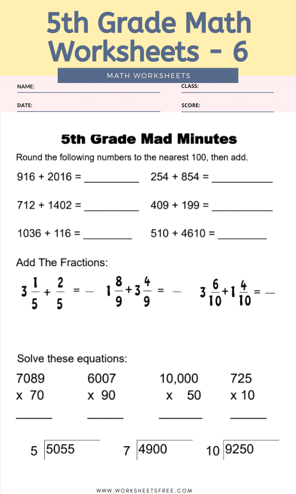 Math Worksheets Grade 5 Worksheets Free