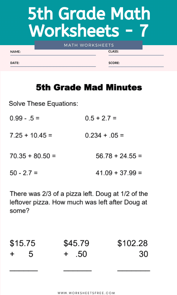 5th Grade Math Worksheets - 7