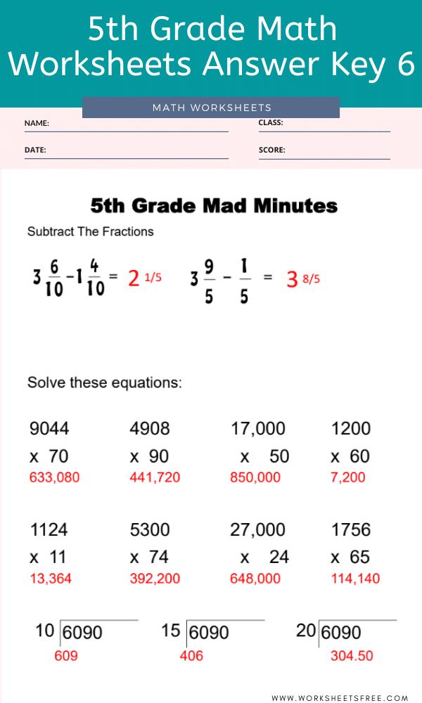 5th Grade Math Worksheets Answer Key 6