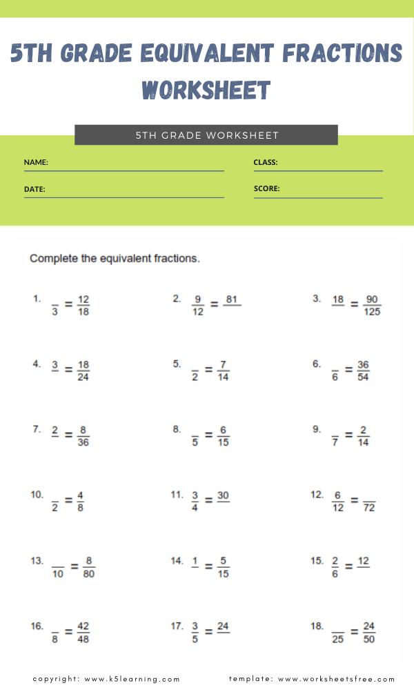 5th grade equivalent fractions worksheet 1