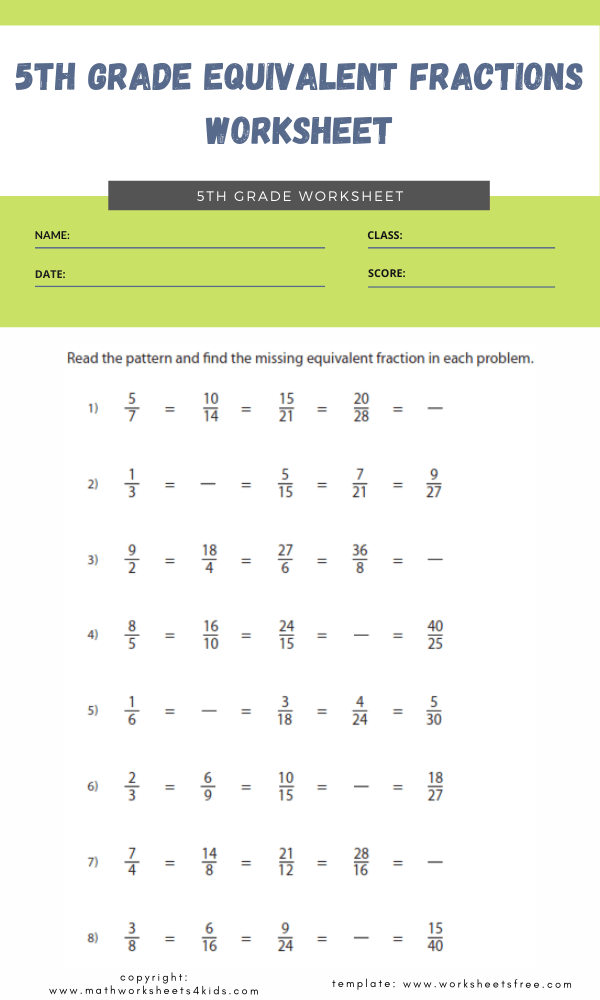 5th grade equivalent fractions worksheet 5