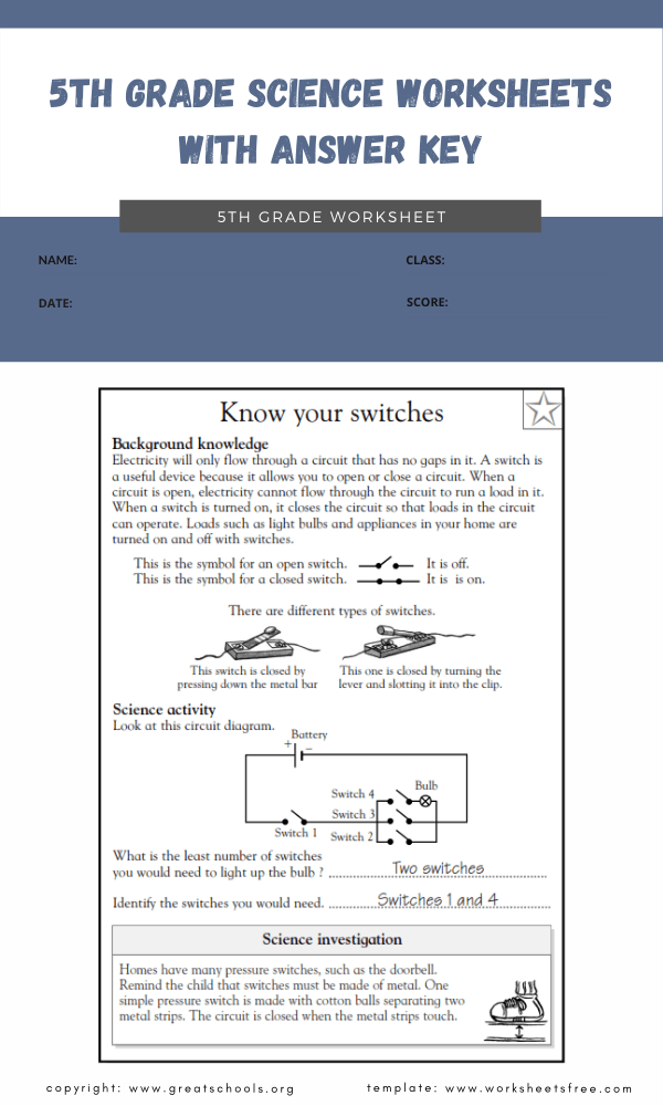 5th grade science worksheets with answer key4