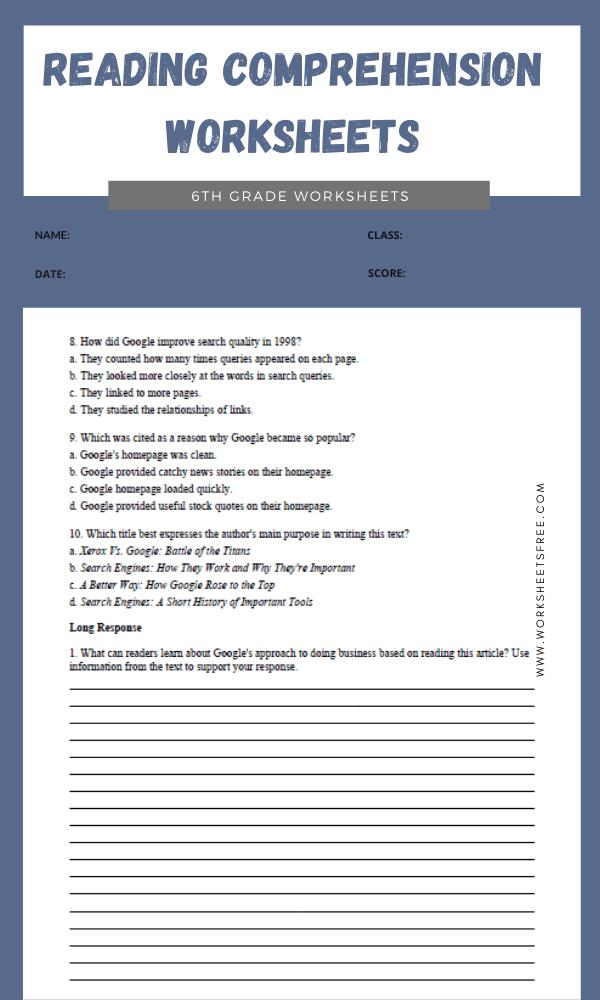 6th Grade Reading Comprehension Worksheets 6