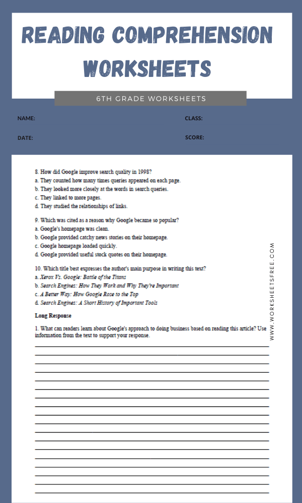 6th Grade Reading Comprehension Worksheets 6