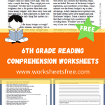 6th Grade Reading Comprehension Worksheets