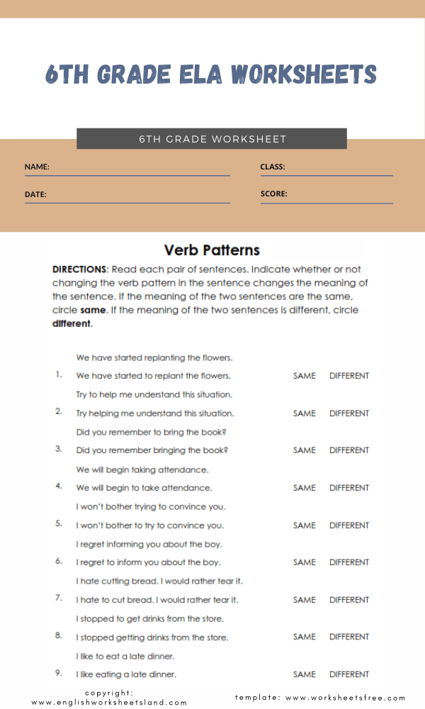 6th grade ela worksheets 4