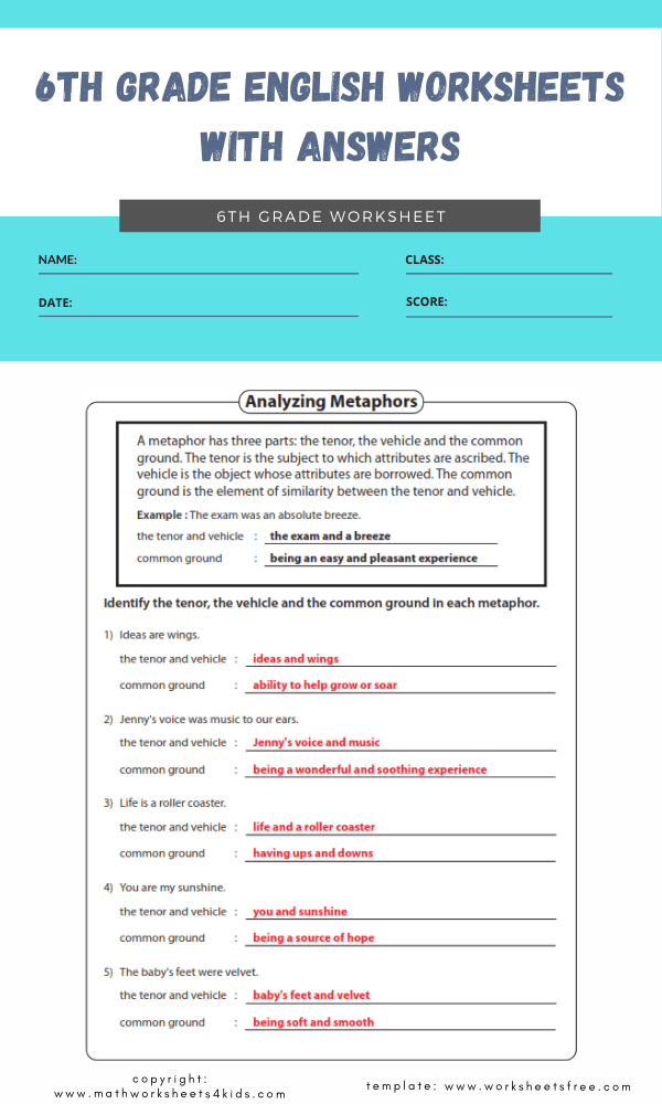6th grade english worksheets with answers 4