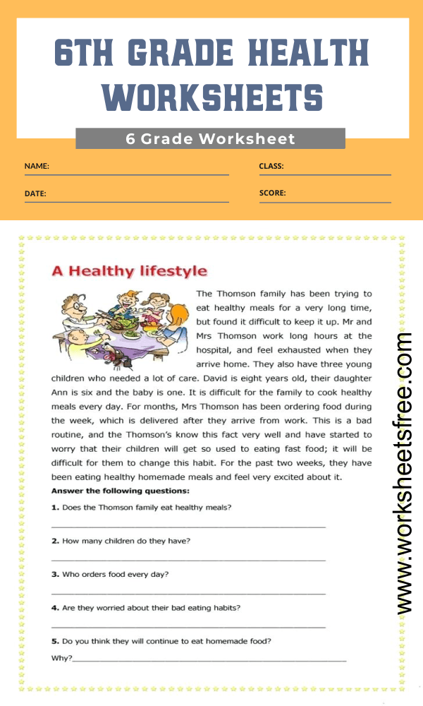 6th grade health worksheets 1