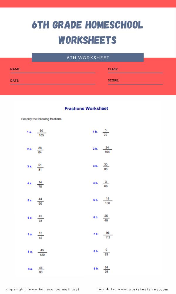 6th grade homeschool worksheets 6