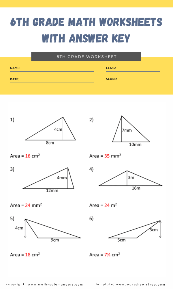 6th grade math worksheets with answer key 4