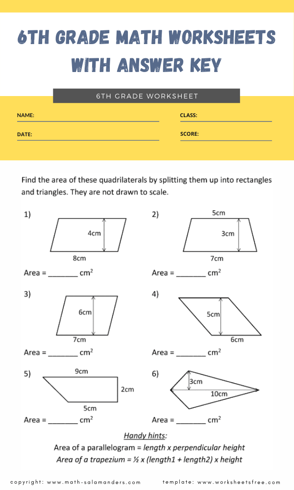 6th grade math worksheets with answer key 7
