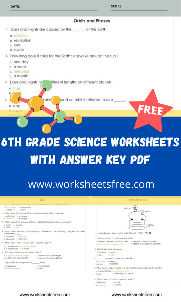 6th grade science worksheets with answer key pdf