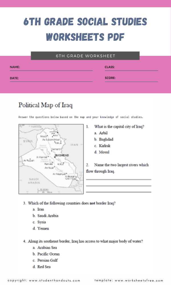 6th grade social studies worksheets pdf 3