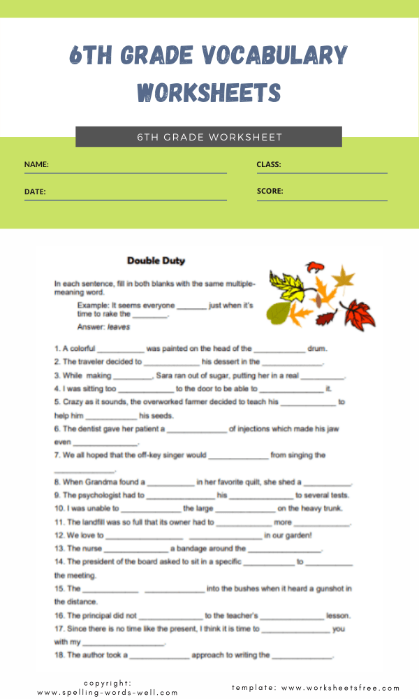 6th grade vocabulary worksheets 1
