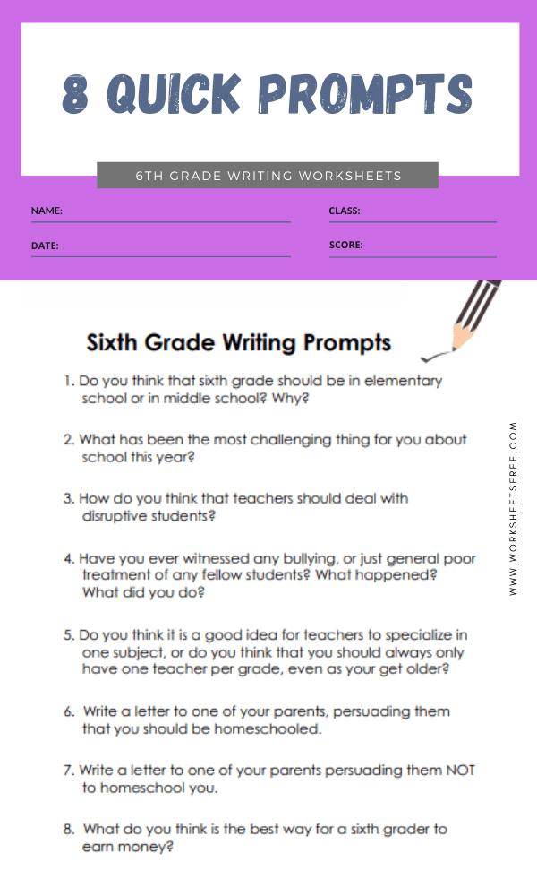 6th grade writing worksheets 2